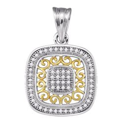 10kt Two-tone Gold Round Diamond Square Pendant 1/6 Cttw