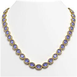 48.65 ctw Tanzanite & Diamond Micro Pave Halo Necklace 10K Yellow Gold