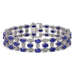 17.74 ctw Sapphire & Diamond Row Bracelet 10K White Gold