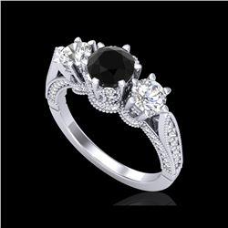 2.18 ctw Fancy Black Diamond Art Deco 3 Stone Ring 18K White Gold