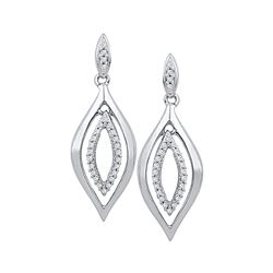 10kt White Gold Round Diamond Double Oval Dangle Screwback Earrings 1/6 Cttw