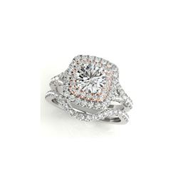 1.25 ctw Certified VS/SI Diamond 2pc Set Ring Solitaire Halo 14K White & Rose Gold