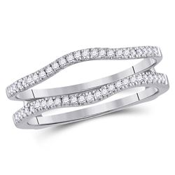 14kt White Gold Round Diamond Ring Guard Wrap Solitaire Enhancer Band 1/4 Cttw
