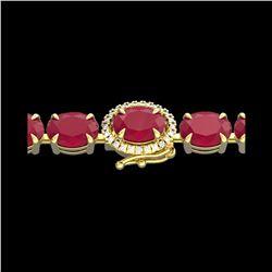 37 ctw Ruby & VS/SI Diamond Eternity Micro Bracelet 14K Yellow Gold