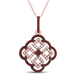 10kt Rose Gold Round Red Color Enhanced Diamond Square Cluster Pendant 1/2 Cttw