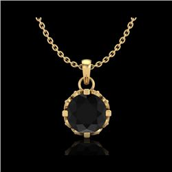 0.85 ctw Fancy Black Diamond Art Deco Stud Necklace 18K Yellow Gold