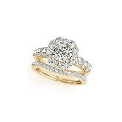 2.51 ctw Certified VS/SI Diamond 2pc Wedding Set Halo 14K Yellow Gold
