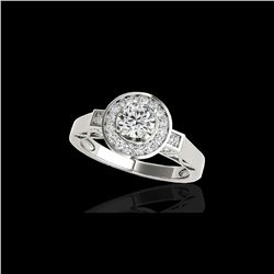 1.75 ctw Certified Diamond Solitaire Halo Ring 10K White Gold