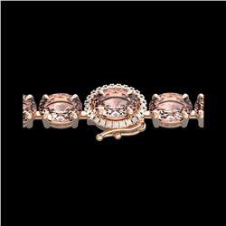 26 ctw Morganite & VS/SI Diamond Micro Bracelet 14K Rose Gold