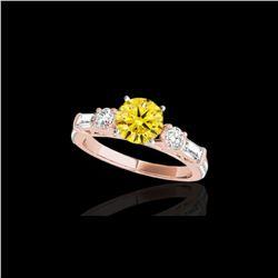 2 ctw Certified SI/I Fancy Intense Yellow Diamond Pave Ring 10K Rose Gold