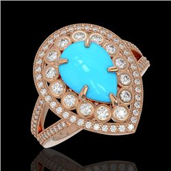 4.02 ctw Turquoise & Diamond Victorian Ring 14K Rose Gold