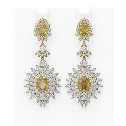 18.87 ctw Canary Citrine & Diamond Earrings 18K Yellow Gold