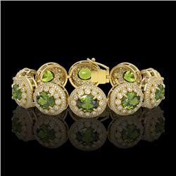 44.22 ctw Tourmaline & Diamond Victorian Bracelet 14K Yellow Gold