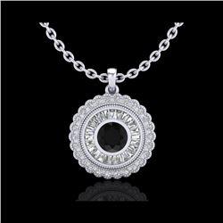 2.11 ctw Fancy Black Diamond Art Deco Stud Necklace 18K White Gold