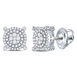 14kt White Gold Round Diamond Circle Cluster Earrings 5/8 Cttw