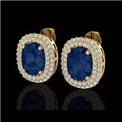 6.30 ctw Sapphire & Micro Pave VS/SI Diamond Earrings 18K Yellow Gold