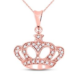 10kt Rose Gold Round Diamond Crown Fashion Pendant 1/8 Cttw