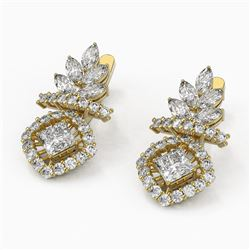 5.09 ctw Princess and Marquise Diamond Earrings 18K Yellow Gold