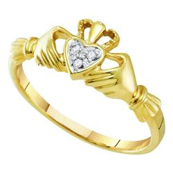 14kt Yellow Gold Round Diamond Claddagh Heart Ring .02 Cttw