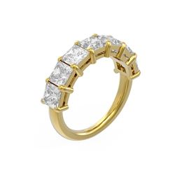 3.64 ctw Princess Diamond Ring 18K Yellow Gold