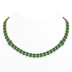 62.38 ctw Jade & Diamond Necklace 14K Rose Gold