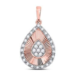 10kt Rose Gold Round Diamond Teardrop Pendant 1/6 Cttw