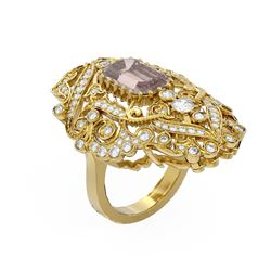 6.35 ctw Morganite & Diamond Ring 18K Yellow Gold