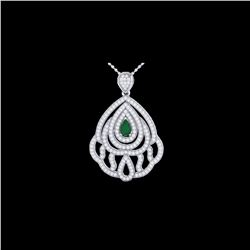 2 ctw Emerald & Micro Pave VS/SI Diamond Necklace 18K White Gold
