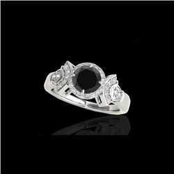 1.56 ctw Certified VS Black Diamond Solitaire Halo Ring 10K White Gold