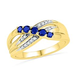 10kt Yellow Gold Round Lab-Created Blue Sapphire Band Ring 1/2 Cttw
