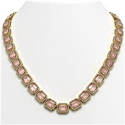 81.64 ctw Morganite & Diamond Micro Pave Halo Necklace 10K Yellow Gold