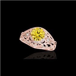 1.36 ctw Certified SI Intense Yellow Diamond Antique Ring 10K Rose Gold