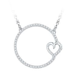 10kt White Gold Round Diamond Circle Heart Pendant Necklace 1/5 Cttw