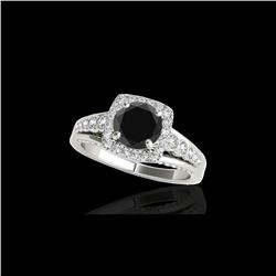 1.75 ctw Certified VS Black Diamond Solitaire Halo Ring 10K White Gold