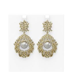 5.22 ctw Diamond and Pearl Earrings 18K Yellow Gold