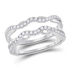 14kt White Gold Round Diamond Wrap Ring Guard Enhancer 1/3 Cttw