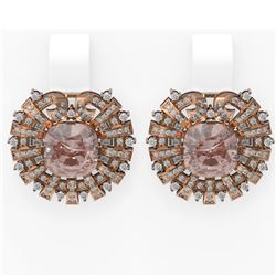 11.25 ctw Morganite & Diamond Earrings 18K Rose Gold