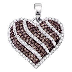 10kt White Gold Round Brown Diamond Striped Heart Pendant 1.00 Cttw