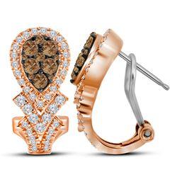 10kt Rose Gold Round Brown Diamond Cluster Hoop Earrings 1.00 Cttw