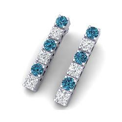 6 ctw SI/I Intense Blue Diamond Earrings 18K White Gold