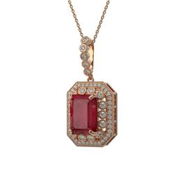 11.99 ctw Certified Ruby & Diamond Victorian Necklace 14K Rose Gold