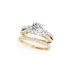 1.71 ctw VS/SI Diamond 3 Stone 2pc Wedding Set 14K Yellow Gold