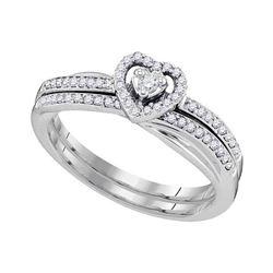 10kt White Gold Round Diamond Heart Bridal Wedding Engagement Ring Band Set 1/4 Cttw