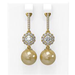 1.92 ctw Diamond and Pearl Earrings 18K Yellow Gold