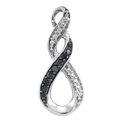 10kt White Gold Round Black Color Enhanced Diamond Vertical Infinity Pendant 1/12 Cttw