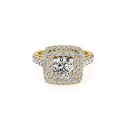 2.3 ctw Certified VS/SI Diamond Halo Ring 18K Yellow Gold