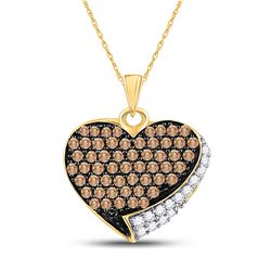 10kt Yellow Gold Round Brown Diamond Heart Pendant 7/8 Cttw
