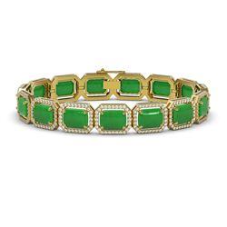 33.46 ctw Jade & Diamond Micro Pave Halo Bracelet 10K Yellow Gold