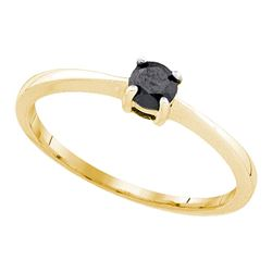 10kt Yellow Gold Round Black Color Enhanced Diamond Solitaire Bridal Wedding Engagement Ring 1/4 Ctt