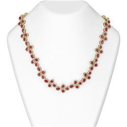 124.56 ctw Ruby & Diamond Necklace 18K Yellow Gold
